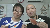 牛乳パック紙相撲 山田大輔さん、うみぼうずさん